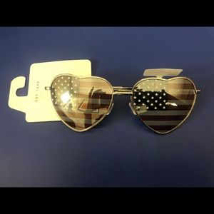 American Flag Heart Shaped Sunglasses